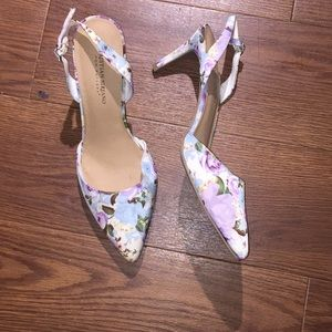 Purple floral Christian Siriano Kitten Heel